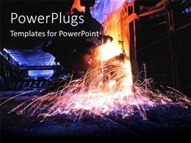 PowerPoint template displaying a large equipment working on some metal in a factory