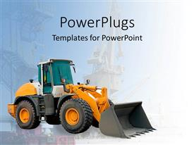 PowerPlugs: PowerPoint template with large excavator, construction equipment, blue background