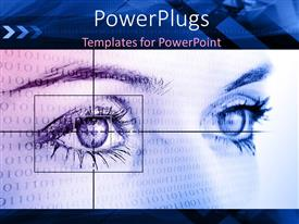 PowerPlugs: PowerPoint template with a large female face with lots of black binary on it