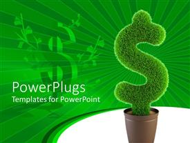 PowerPoint template displaying a large flower vase with a green plant cut in the shape of a dollar sign
