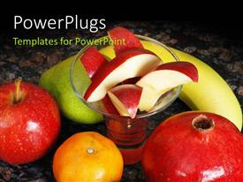 PowerPlugs: PowerPoint template with some large fruits around diced apples in a glass cup