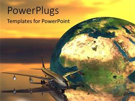 PowerPlugs: PowerPoint template with a large globe with an airplane flying closely beside it