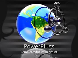 PowerPlugs: PowerPoint template with a large globe over a clear black background