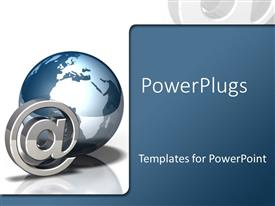PowerPlugs: PowerPoint template with a large globe and an @ symbol on white background