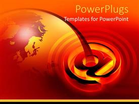 PowerPoint template displaying large glowing email symbol over earth globe