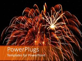 PowerPoint template displaying large glowing fireworks with large and small bursts of fireworks on black background