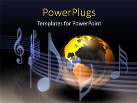 PowerPlugs: PowerPoint template with a large gold and black colored globe with music symbols