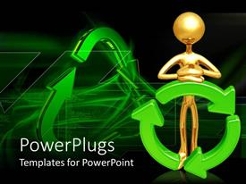 PowerPlugs: PowerPoint template with a large gold colored 3D human character resting on a recycle symbol