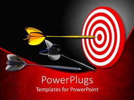 PowerPlugs: PowerPoint template with large gold colored dart on the center of a target