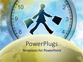 PowerPlugs: PowerPoint template with a large gold colored globe with a man holding two bags