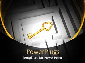 PowerPlugs: PowerPoint template with large gold colored key in a whitecolored labyrinth