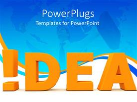 PowerPlugs: PowerPoint template with a large gold colored text  text which spells out the word'idea'