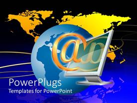 PowerPlugs: PowerPoint template with large gold at sign in front of computer monitor, blue globe, and yellow world map with blue and black background