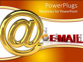 PowerPoint template displaying large gold at sign next to white figure standing on globe and e-mail in red
