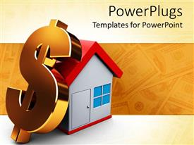 PowerPlugs: PowerPoint template with large golden 3D dollar sign rests on 3D house with blurred dollar bills