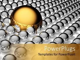 PowerPoint template displaying large golden steel ball and small silver steel balls