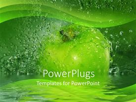 PowerPlugs: PowerPoint template with large green apple with water drops all around it