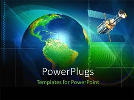 PowerPlugs: PowerPoint template with a large green and blue colored globe and satellite