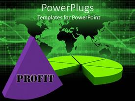 PowerPoint template displaying large green pie chart with a purple removed part and Profit text