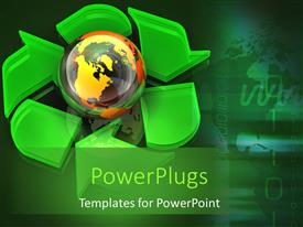 PowerPlugs: PowerPoint template with large green recycle symbol with a gold colored globe