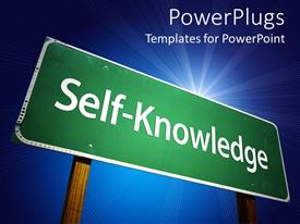 PowerPoint template displaying large green sign post with a Self Knowledge text