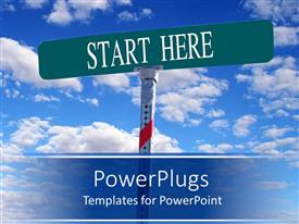 PowerPlugs: PowerPoint template with large green sign post with the text Start Hope