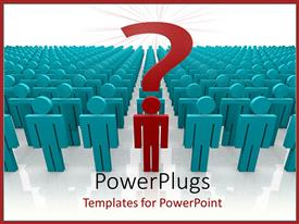 PowerPoint template displaying large group of blue figures with red figure in front of line and question mark on top of its head