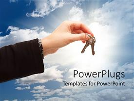 PowerPlugs: PowerPoint template with large hand holding keys with a clear blue sky background and shinning light