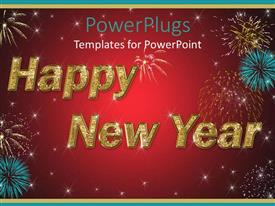PowerPlugs: PowerPoint template with large happy new year text with fireworks and red background