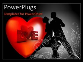 PowerPlugs: PowerPoint template with a large heart with a man and woman dancing at the side