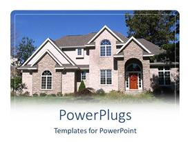 PowerPlugs: PowerPoint template with large house with brick siding and gabled roof