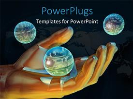 PowerPlugs: PowerPoint template with a large human hand image with three shinning globes