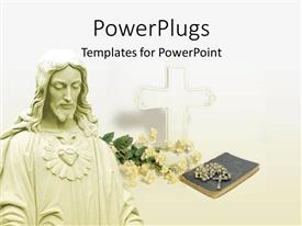 PowerPoint template displaying a large image of Jesus Christ with a rosary on a book