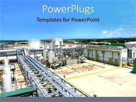 PowerPlugs: PowerPoint template with large industrial plant on horizon with blue sky
