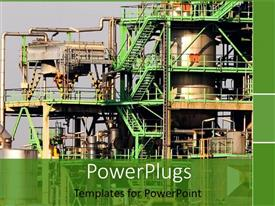 PowerPlugs: PowerPoint template with large industrial plant with lots of green colored stairs