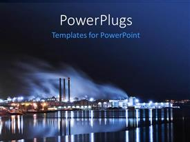 PowerPoint template displaying large industry by the water and lights