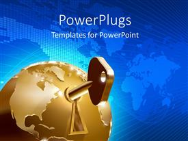 PowerPlugs: PowerPoint template with large key inserted in keyhole of golden globe over world map