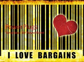 PowerPoint template displaying large i love bargains text with red heart and black stripes