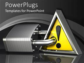 PowerPlugs: PowerPoint template with large metal padlock jammed through a yellow attention sign