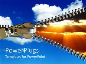 PowerPlugs: PowerPoint template with large metal zipper opening to display sunset on orange background with bright sky