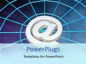 PowerPoint template displaying large metallic email symbol on web patterned background