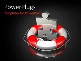 PowerPoint template displaying large metallic puzzle piece with lifebuoy and black color
