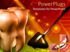 PowerPlugs: PowerPoint template with large model tooth with reflex hammer and woman's smile