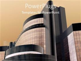 PowerPlugs: PowerPoint template with large modern building with beige background