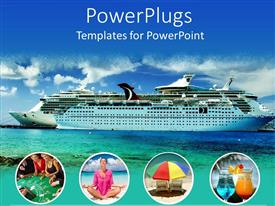 PowerPoint template displaying large modern cruise ship. lots of free space for text