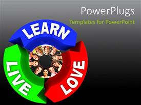 PowerPlugs: PowerPoint template with a large multicolored recycle symbol with people smiling in the center