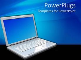 PowerPlugs: PowerPoint template with a large open laptop on a clear black surface and blue background