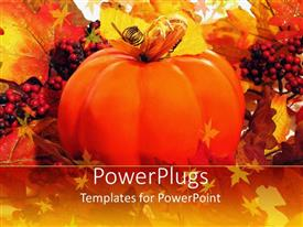PowerPlugs: PowerPoint template with a large orange colored pumpkin and lots of small red berries