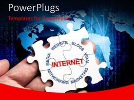 PowerPlugs: PowerPoint template with a large palm with a solved puzzle spelling out some internet related words