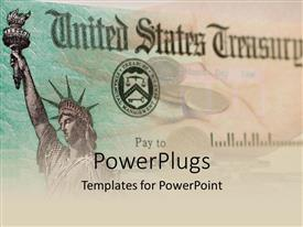 PowerPlugs: PowerPoint template with a large paper with text that spell out the words 'United States Treasury'